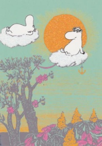 Moomin-troll flying on clouds