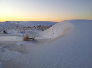 White Sands - white dunes under white snow