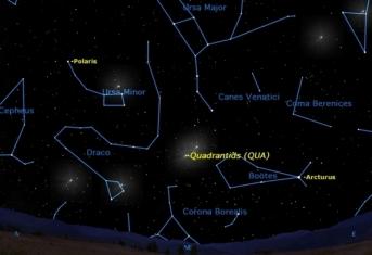 2012 Quadrantid meteor shower sky map