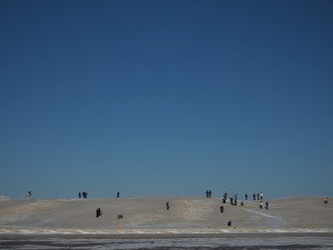 Local people enjoying sledging from dunes