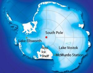 Antarctic map - Lake Vostok