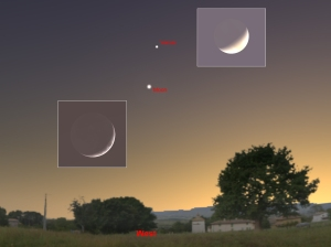April 24, 2012, observing Venus and crescent Moon