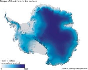 Shape of Antarctic ice surface. Credit: BBC News (http://www.bbc.co.uk/news/science-environment-21692423)