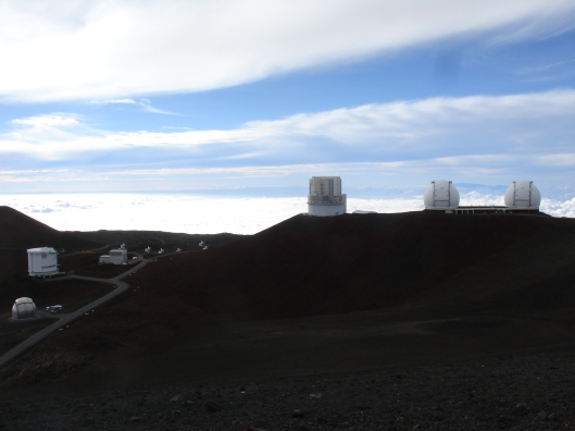 Approaching Mauna Kea observatories. The speed limit is 5 mph, because on higher speeds the dust will spoil observatory mirrors