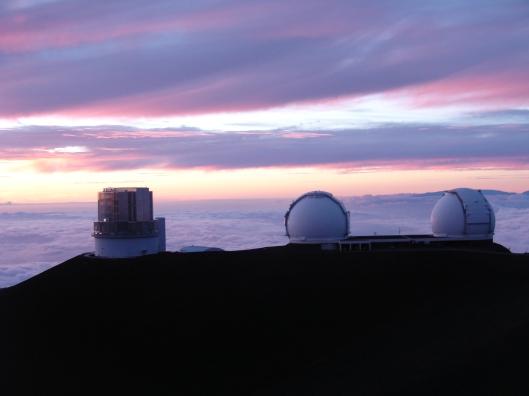 Mauna Kea observatories, Keck and Subaru telescopes at sunset