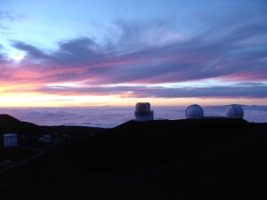 Mauna Kea telescopes at sunset
